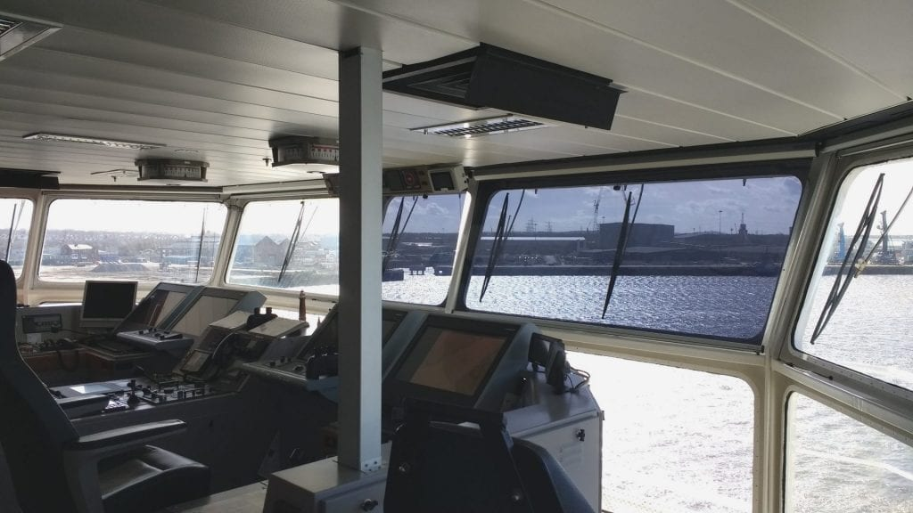 SOLASAFE roller shades at navigation bridge windows