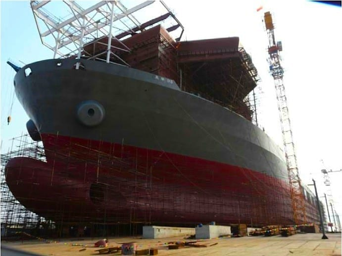 Borealis hull ready for launching