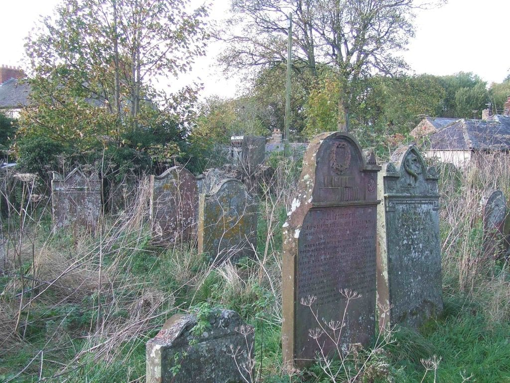 View of poor access to Joseph Bell headstone