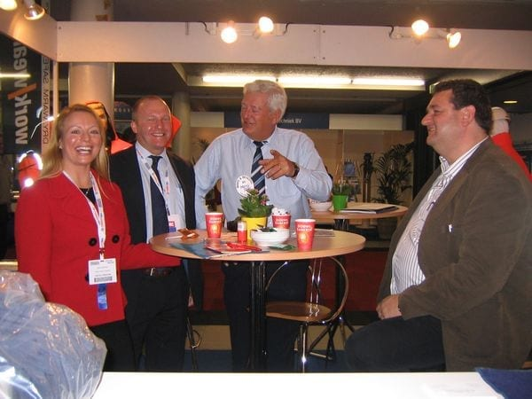 Julie Lightfoot and Carl Johnson visit Hans and Ronald Scheffer on the Temaro BV stand at the Europort Exhibition in Rotterdam photo