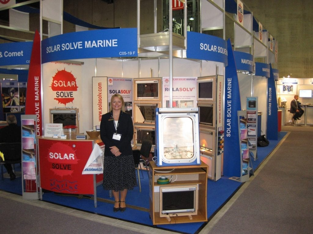 Photo of Julie Lightfoot on the Solar Solve stand at Nor-Shipping 2009