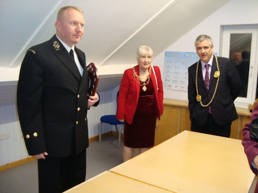 ADO Lt. Steven Grainger, Cathy Stephenson, Mayoress of South Tyneside and her son Councillor Ken Stephenson, the Mayor, discuss the facilities in the new Lightfoot Room.