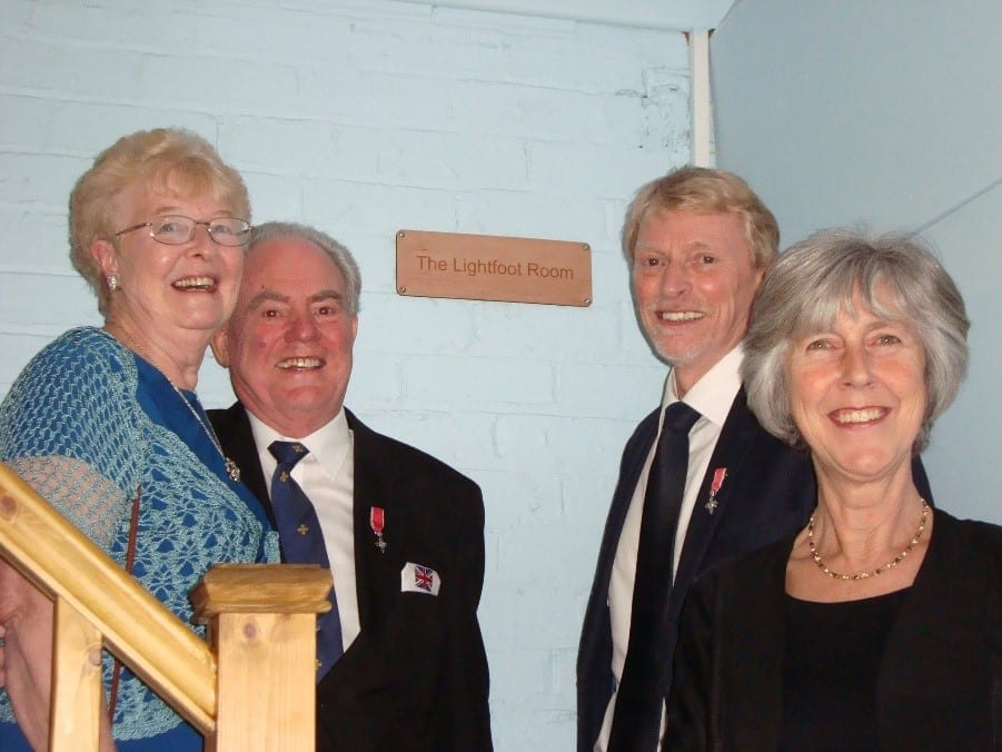 Lilian and John Lightfoot, MBE, with John Eltringham, MBE and his wife Jane, after the naming of The Lightfoot Room at South Shields Sea Cadet Corps T.S. Collingwood headquarters.