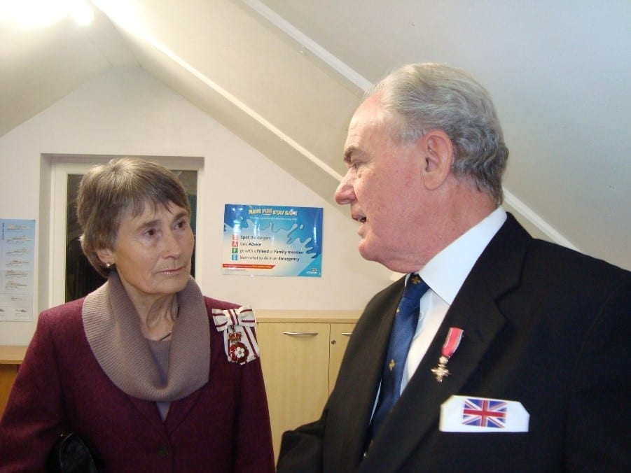 Susan Winfield, OBE DL, Lord-Lieutenant for Tyne and Wear and John Lightfoot, MBE, chatting about their admiration for the Collingwood Sea Cadets and their many impressive achievements.
